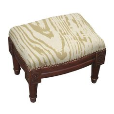 Faux Bois /Green Wooden/Fabric Footstool with Nail Heads