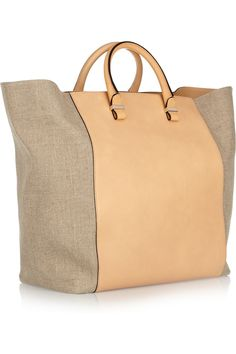 Victoria Beckham shopper leather and linen canvas tote