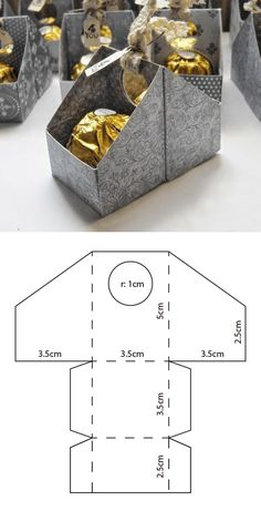 Ferrero box template- # ferrero # template- # BoxesBasteln - Modèle de boîte Ferrero- # Ferrero # BoîtesCrafts Best Picture For diy home decor - Diy Gift Box, Diy Box, Diy Gifts, Gift Boxes, Paper Gifts, Diy Paper, Paper Art, Paper Box Template, Box Template Printable