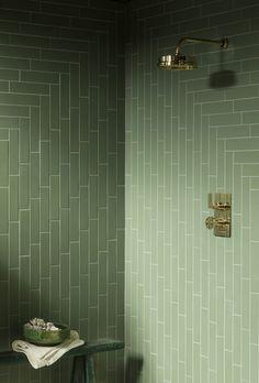 Buy our Oska Jungle Green Matt Porcelain Tile to add gorgeous, muted green tones to your kitchen or bathroom. View this matt porcelain brick tile online! Terrazzo Tile, Brick Tiles, Stone Tiles, Cement Tiles, Ideal Home Show, Mandarin Stone, Deco Nature, Tile Stores, Outdoor Tiles