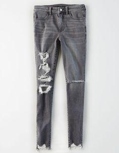 AE Ne(X)t Level Super High-Waisted Jegging Women's Lightning Gray 4 Regular Ripped Jeggings, High Waist Jeggings, Ae Jeans, Curvy Jeans, Distressed Jeans, Denim Pants, Black Jeans, Trendy Swimwear, Woman Clothing