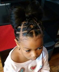 Image result for african american toddler girl hairstyle braided to an afro poof