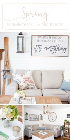 Simple decorating ideas to create a bright + airy farmhouse style Spring living room... www.makingitinthemountains.com