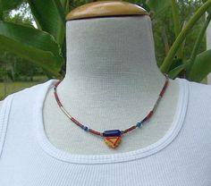 Hippie Tribal Boho multicolor lampwork necklace by alanabobanna, $30.00