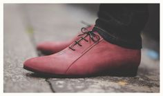 Red purple men's leather shoes made in France by от NumeroNoir