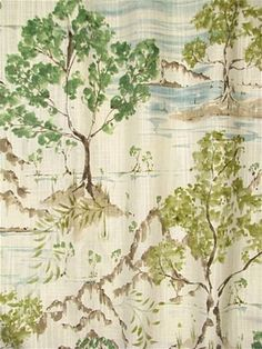 Hikaru 216 Willow - Chinoiserie scenic toile fabric for decorator window treatments or upholstery fabric. Durable cotton fabric from Covington fabrics.