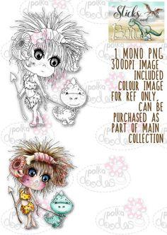 Sticks & Bones - Walk the Dinosaur girl - Digital Stamp CRAFT Download - Polkadoodles Ltd