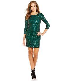 date night - Gianni Bini Social Marla Boat Neck 3/4 Sleeve Sequin Dress
