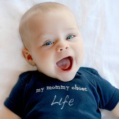 Pro Life Baby Bodysuit, My Mommy Chose Life (NO INK) Navy, Pink, Black, Free Shipping