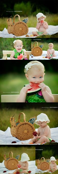 Little baby girl watermelon photo shoot