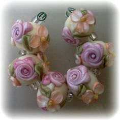 BLISS Roses and Peach Blossom on Ivory Lampwork Bead Set