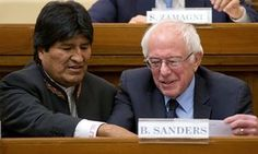 Evo Morales, first indigenous Bolivian president, and Bernie Sanders together during a conference at the Vatican.