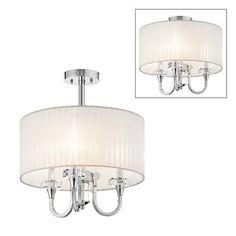 Kichler Lighting 42630CH 3 Light Parker Point Convertible SemiFlush Semi Flush Ceiling Light, Chrome $360