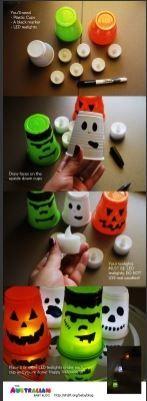 Cute Halloween light cups