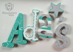 Literki przestrzenne 3d imionka nad łożeczko - Manufaktura-Slow - Dekoracje pokoju dziecięcego