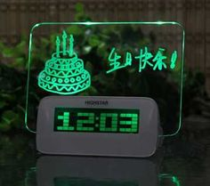 Highstar Digital Alarm Clock Displays Handwritten, Erasable, Fluorescent Messages    ---  from InventorSpot.com --- for the coolest new products and wackiest inventions.
