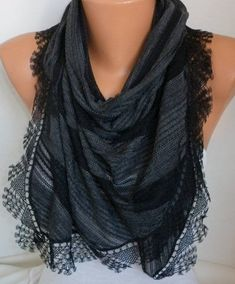 Scarf Necklace, Cotton Scarf, Womens Scarves, Black Cotton, Cowl, Gifts For Her, Dress Up, Feminine, My Style