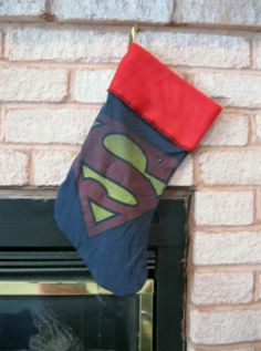 Superman Christmas Stocking DIY Upcycled Shirt Handmade OOAK Superhero Geek