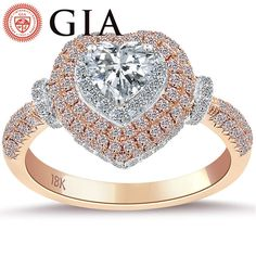 1.56 Carat F-SI1 GIA Certified Heart Shape Diamond Engagement Ring 18k Rose Gold