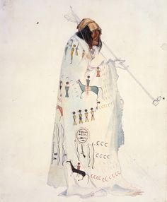 """Karl Bodmer (Swiss, 1809–1893),  """"Piegan Blackfeet Man,"""" 1833, watercolor on paper, 2 3/8 x 10 in., 31.43 x 25.4 cm, Joslyn Art Museum, Gift of Enron Art Foundation, 1986.49.290"""
