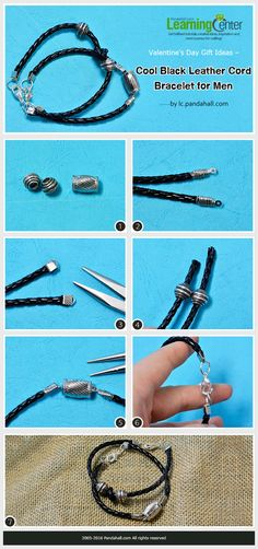Tutorial on Cool How to Make Black Leather Cord Bracelet for Men from LC.Pandahall.com