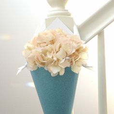 Tiffany Blue Metallic Glitter Cone in Aqua & White for Party Decor, Wedding Aisle or Pew Cone DIY Flowers, Chair Marker or Door Decoration