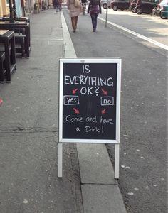 Chalkboard sign.