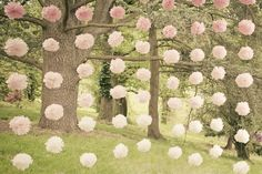 Ombre Paper Pom Flower Backdrop | Wedding Decor | Click thru to see the wedding on Style Me Pretty