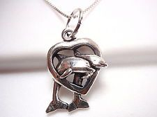 Dolphin Family in Heart Necklace 925 Sterling Silver Corona Sun Jewelry