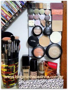 reciclando fundo de gaiola para organizar maquiagem