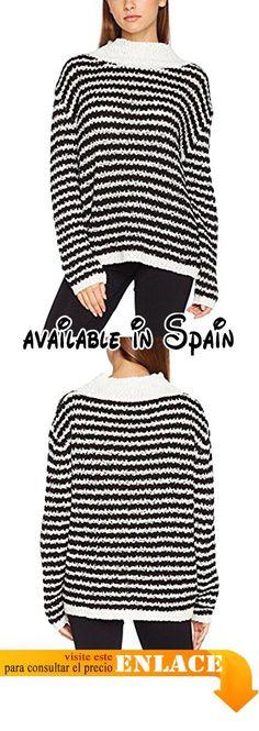 B0719WG3FK : Guess LS Bn Agata Camiseta para Mujer Nero (Black&Scuffy Stripes) Medium.