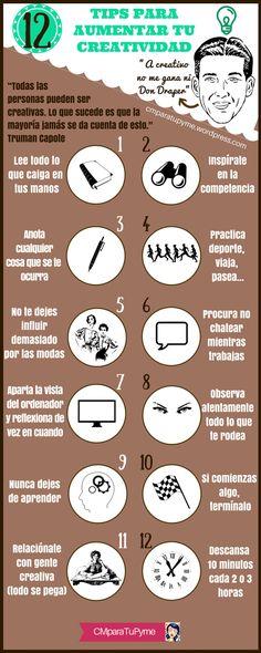 Hola: Una infografía con 12 consejos para aumentar tu creatividad. Vía Un saludo