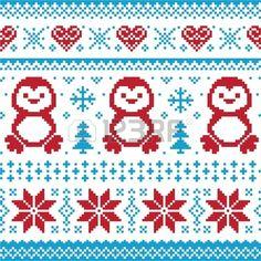 Weihnachten und Winter Strickmuster card scandynavian Pullover Stil Lizenzfreie Bilder