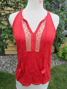 Lucky Women's Sz Large Knit Sweater T-Back Tank w/ Tassel 7WD5150 Red $79.50 NWT #LuckyBrand #KnitTBackTankTop #MultiOccasion
