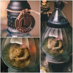 Made with ink bottle and lidded jar (turned upside down) sitting on a painted candlestick -- DYI Harry Potter Potions for Halloween: Banishment Orb - Scrapbook.com
