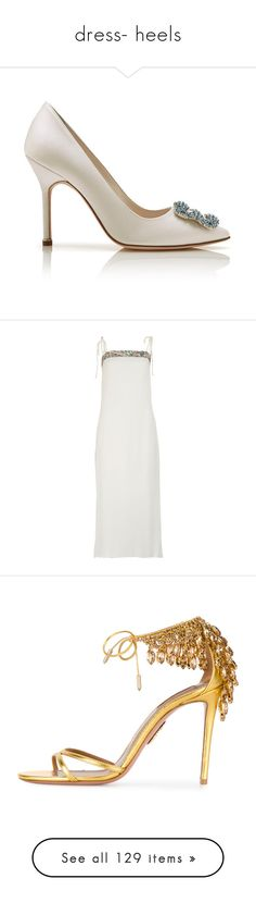 """""""dress- heels"""" by saltless ❤ liked on Polyvore featuring shoes, dresses, white, white slip dress, slip dresses, calf length dresses, white midi dress, midi dresses, sandals and grey"""