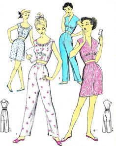 1950s Womens Pajamas Pattern Advance 6735 Two Piece Pyjamas Long Pants or Shorts Midriff Front Button Top Vintage Sewing Pattern Bust 34 on Etsy, $23.49 AUD