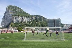 Matches in Gibraltar are played in the shadow of the Rock at Victoria Stadium