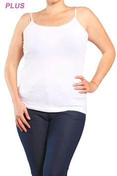 Plus Sized White Cotton Cami $16.50 | e-closet