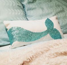 Mermaid Pillow Sequin Decorative Throw Pillow by TheStockingShoppe