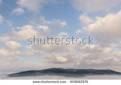 Foggy morning and sunny sky in Polish Beskid