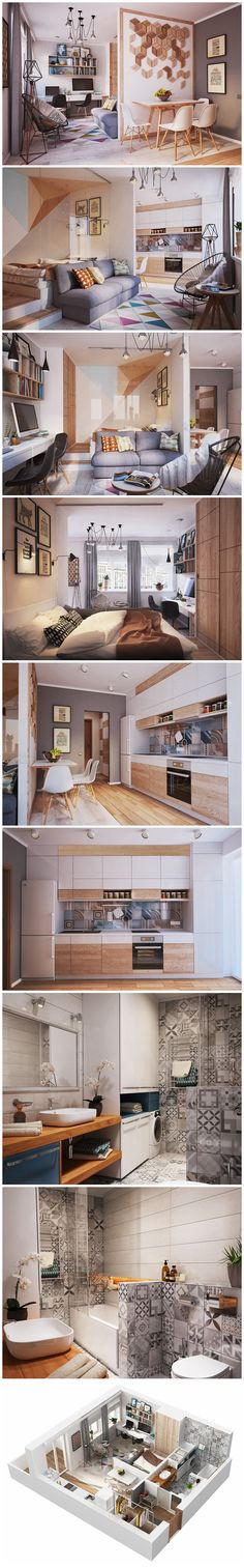50 m² Small Apartment Interior Design Idea #smallroomdesignapartments
