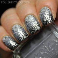 Grey gradient nails with double stamping