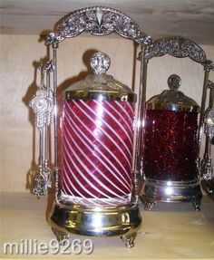 """Fenton Cranberry Opalescent Spiral Optic Glass with Metal 10"""" x 5"""" Pickle Castor   eBay"""
