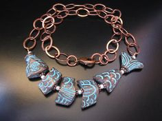 Worry Fish Necklace Greek Copper Patina Worry Fish by PumpkinBeads
