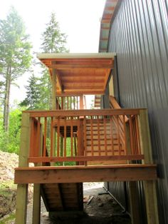 Monitor style garageshop on lopez island wa constructed by spane exterior stairway on a post frame shop on camano island wa constructed by malvernweather Gallery