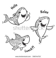 Collection of black and white shark cartoon characters. Coloring book page Black Tip Shark, Diving Quotes, Ink Doodles, Cartoon Characters, Fictional Characters, Fauna, Coloring Book Pages, Bullet Journal, Clipart