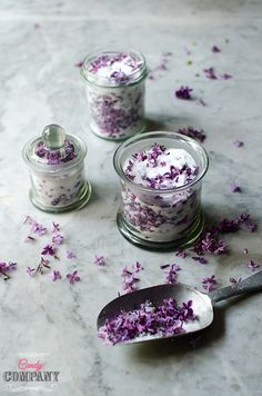 Food photography by Candy Company Infused Sugar, Candy Companies, No Sugar Foods, Edible Flowers, Preserves, Panna Cotta, Lilac, Herbalism, Food Photography
