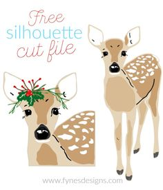 Free Christmas deer Silhouette Cut file from Fynes Designs Silhouette Blog, Silhouette Cameo Tutorials, Silhouette Curio, Silhouette Clip Art, Silhouette America, Silhouette Projects, Silhouette Portrait, Christmas Deer, Christmas Crafts