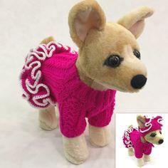 ручной работы вязаная одежда с оборками свитер платье и шляпа для собак / домашних животных XXS, XS, S | Зоотовары, Товары для собак, Одежда и обувь | eBay!